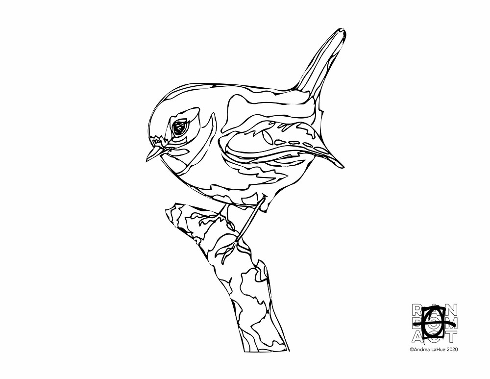 Chickadee coloring page by Andrea LaHue