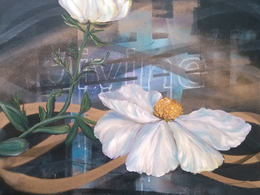 Divine Matilija Poppy by Andrea LaHue aka Random Act is a multimedia and oil painting on canvas.
