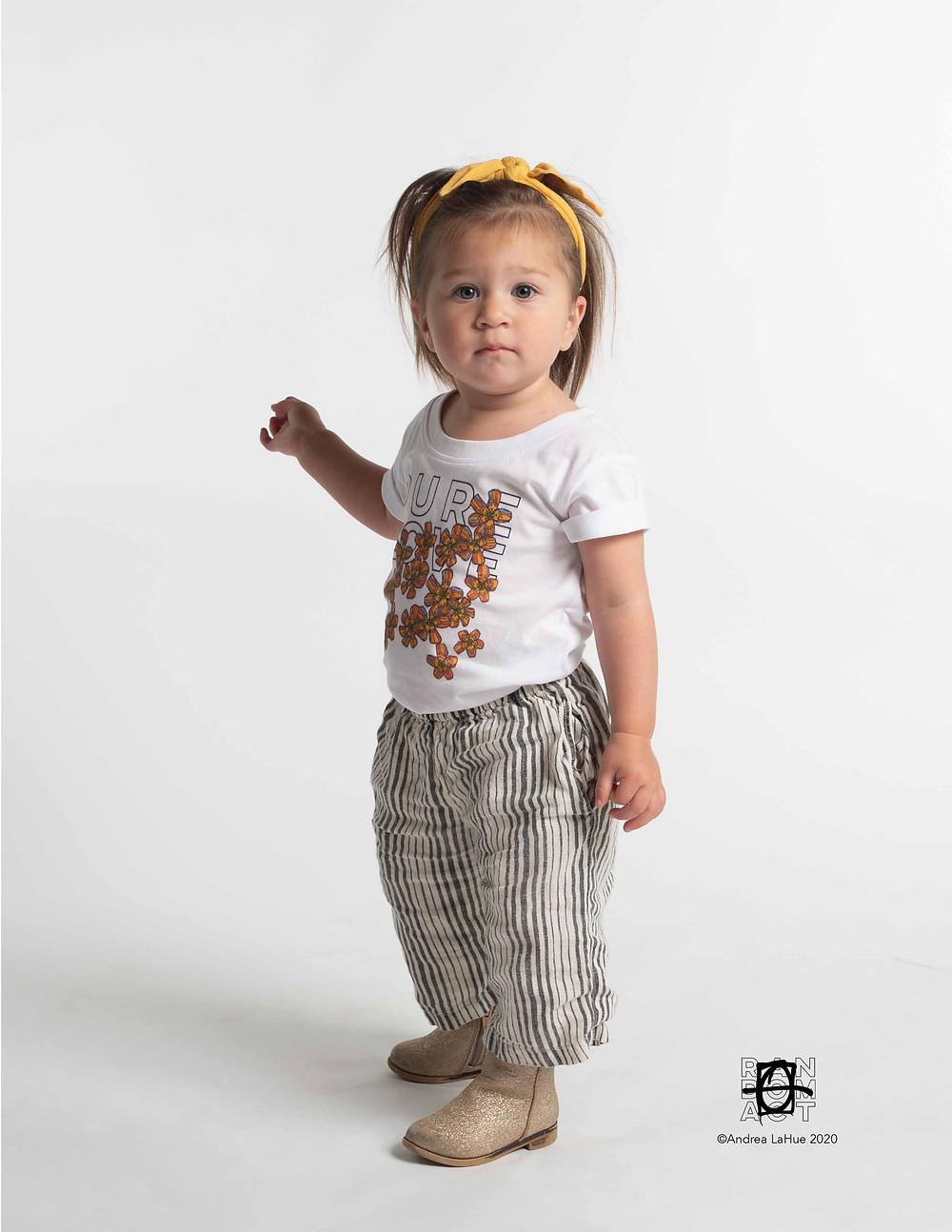 Organic Cotton Pure Love Tangerine Flowers T-shirt by Atelier LaHue