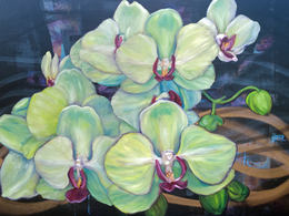 Radical Trust (greenish orchids) by Andrea LaHue aka Random Act, museum quality oil painting on canvas.