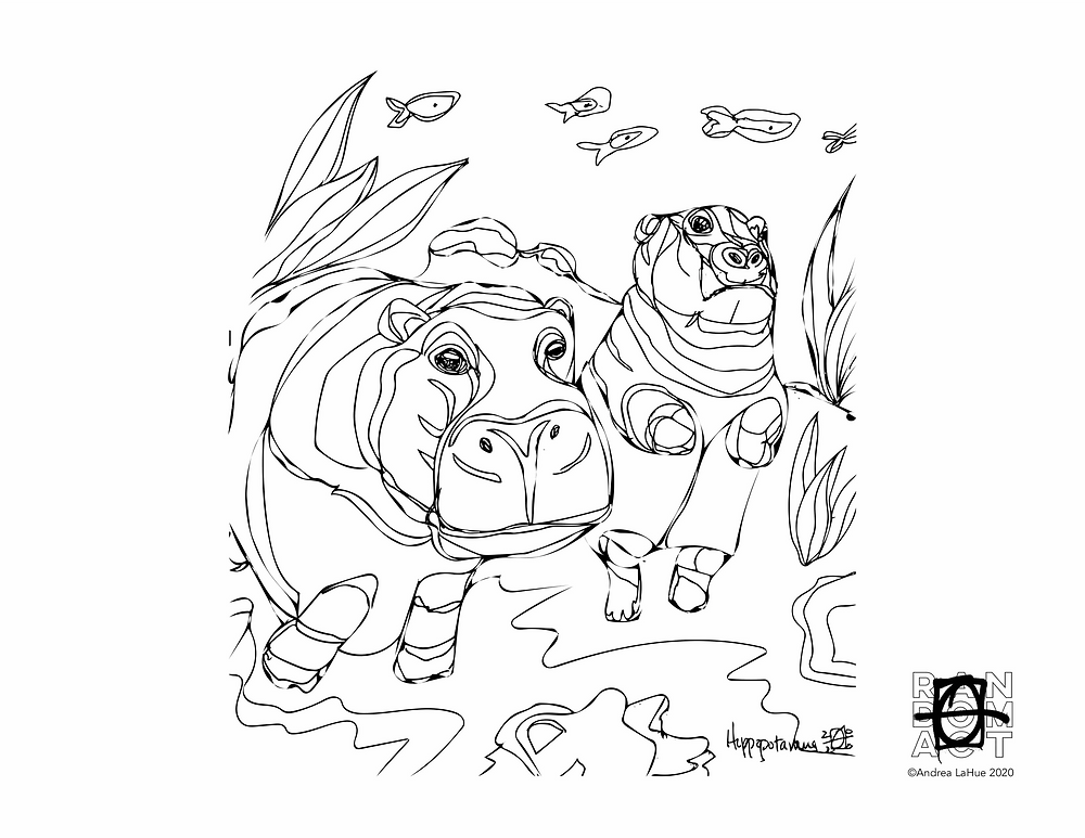 Hippo Coloring Page by Andrea LaHue