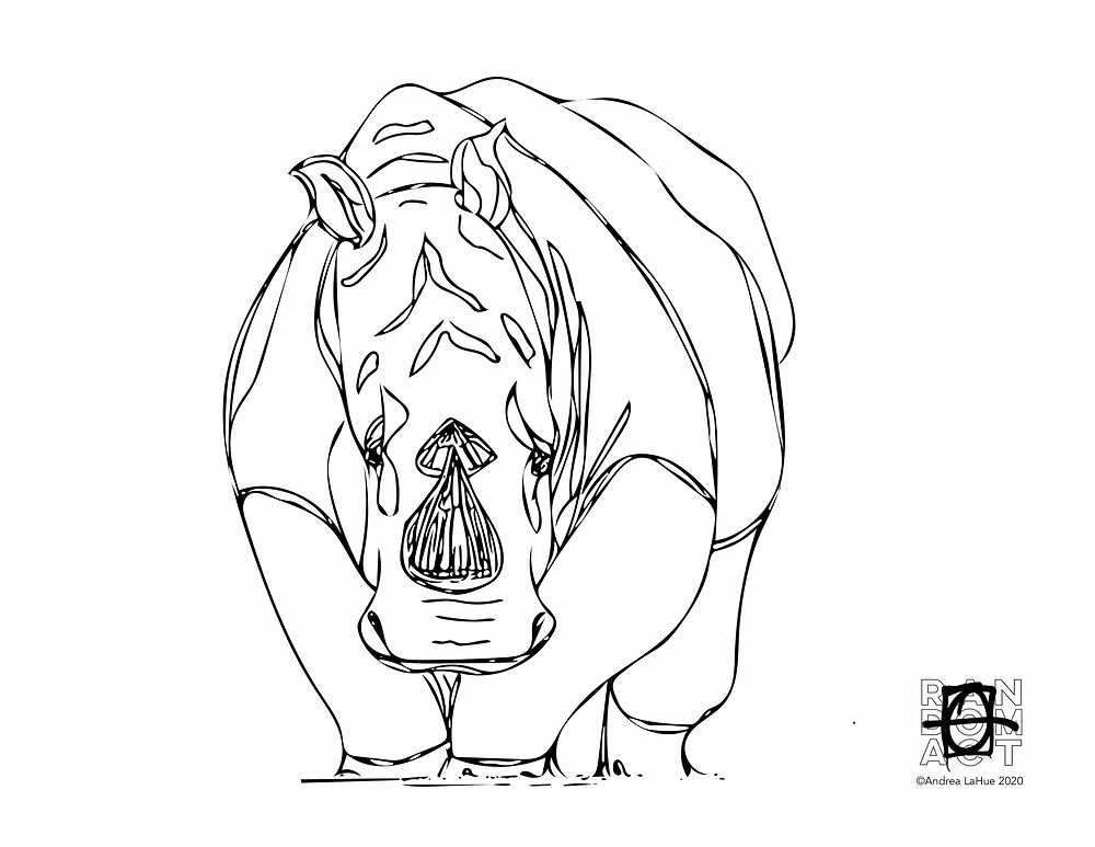 Rhino coloring page by Andrea LaHue