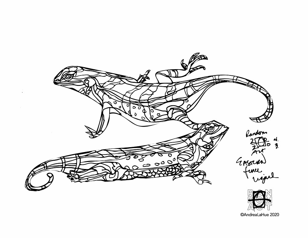 Eastern Fence Lizard Coloring Page by Andrea LaHue
