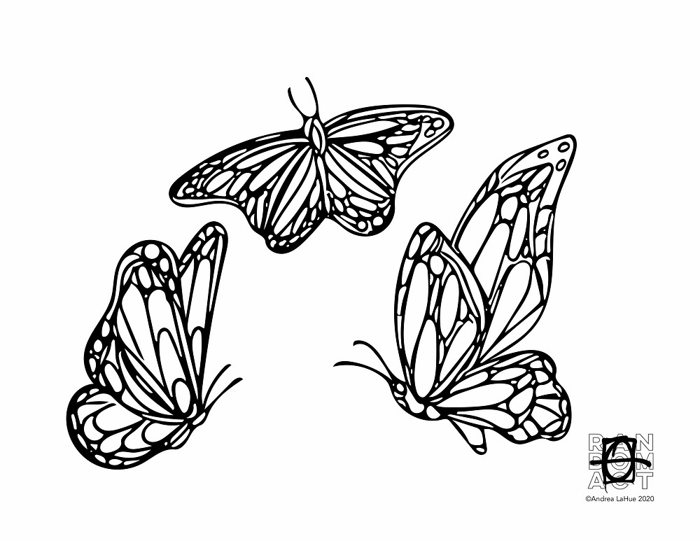 Butterfly coloring pages by Andrea LaHue