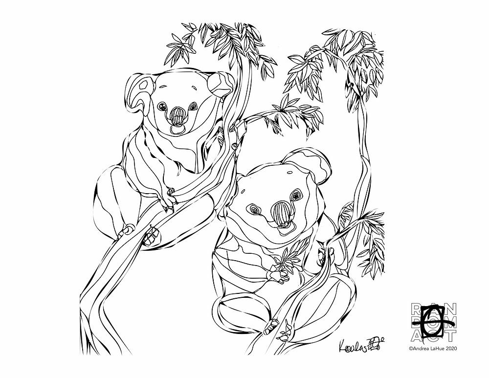 Koala coloring page by Andrea LaHue