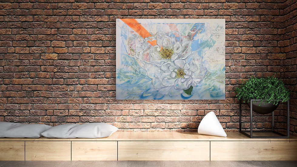 fine art painting of white roses in the middle of a united states map spraypaint oil by Andrea LaHue