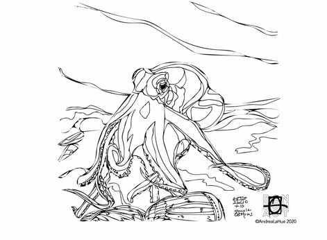 Curious Coloring Pages, Calla Lily, Octopus, Dragon Fun