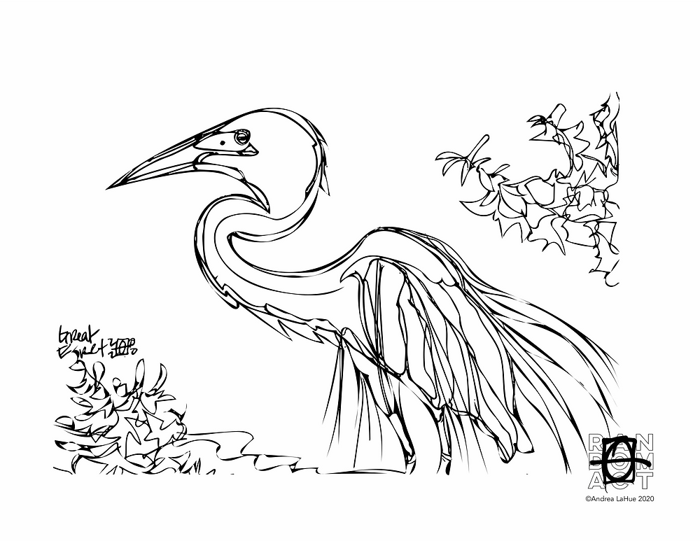 great egret coloring page by Andrea LaHue