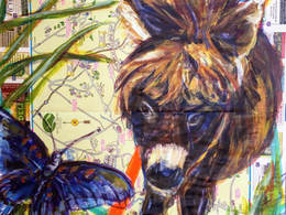 Hudson Valley Mini Donkey by Andrea LaHue aka Random Act painted on an upstate New York Map