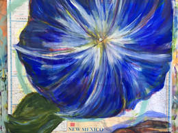 Morning Glory by Andrea LaHue aka Random Act painted with acrylics on a New Mexico Map.
