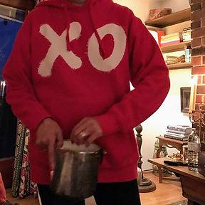"""Contemporary red """"XO"""" hooded sweatshirt from AtelierLaHue.com by Andrea LaHue aka Random Act"""