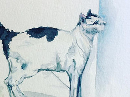 Meow by Andrea LaHue watercolor on paper of white cat with black spots and tail.