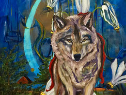 Hey There Little Red Riding Hood by artist Andrea LaHue aka Random Act, multimedia and oil on cradled wood panel.