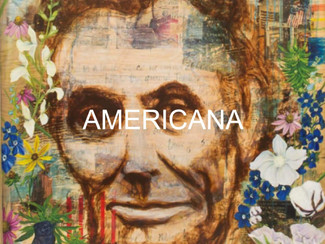 portrait of Abraham Lincoln by Andrea LaHe aka Random Act with Americana written over it, clicking l