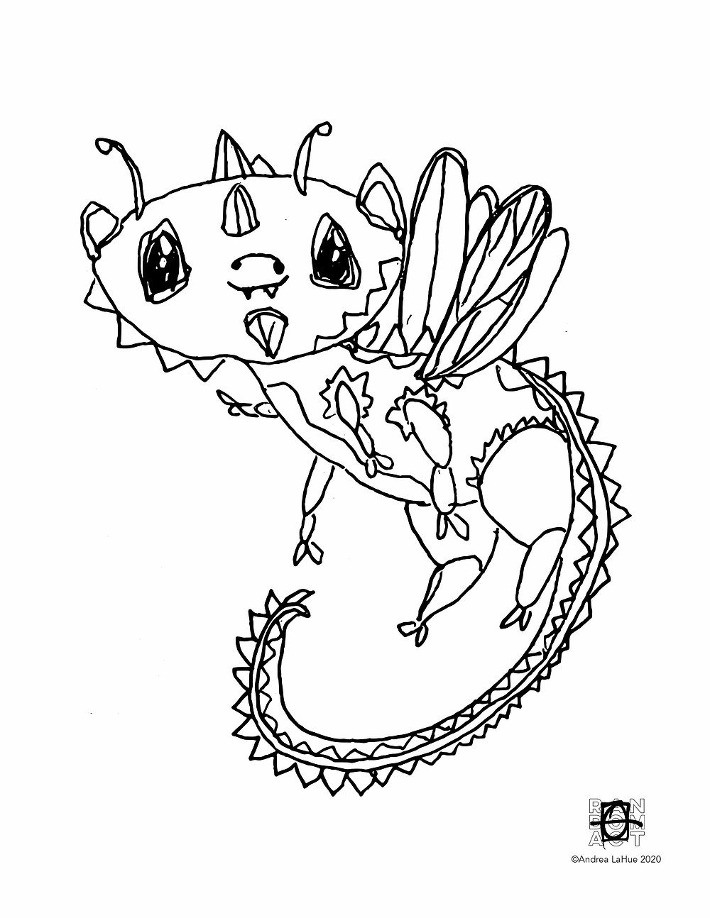 dragon fun coloring pages by Andrea LaHue