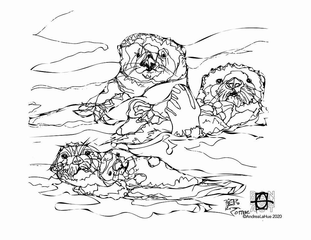 Otter Coloring Page by Andrea LaHue