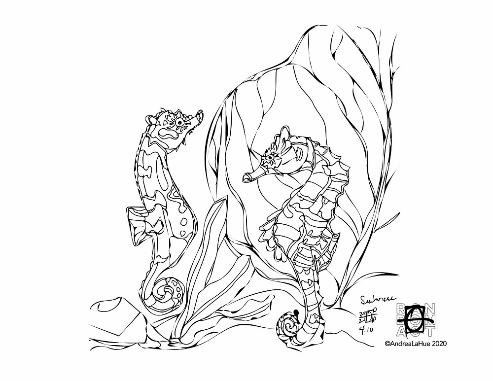 seahorses coloring page by Andrea LaHue