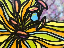 Laughing Lily by Andrea LaHue aka Random Act a museum quality, contemporary fine art painting, spray paint on canvas.  A street  art flower painting created by artist Andrea LaHue aka Random Act.