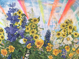 Dreamers by Andrea LaHue aka Random Act, multimedia and oil on canvas.  It's an ode to LA.