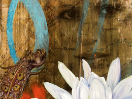 Desert Flower and Lizard, Self Portrait, from the original Americana Series.  Multimedia and oil, on wood panel.