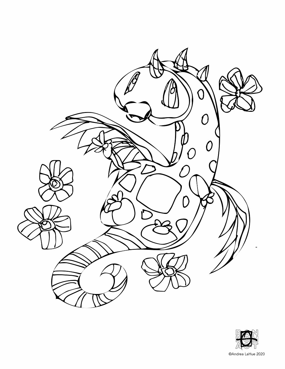 Dragon Fun Coloring Page by Andrea LaHue
