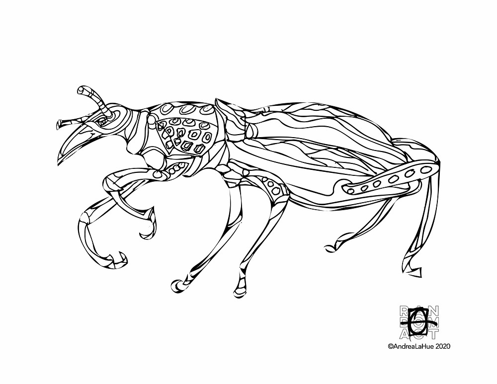 Black Bug Coloring Page by Andrea LaHue