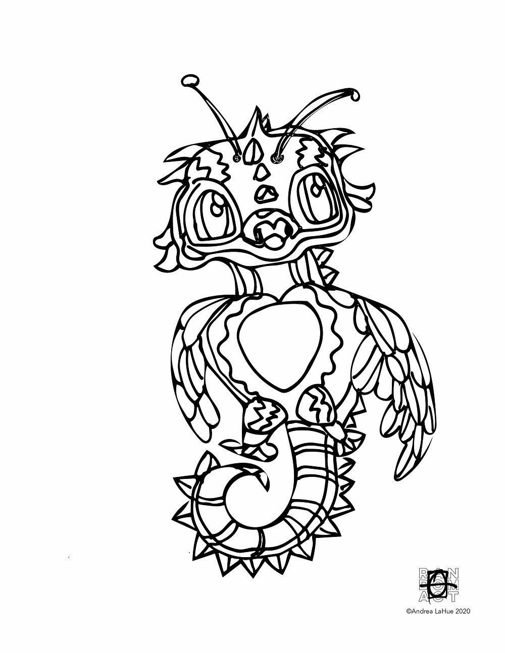 Dragon Coloring page 0330 by Andrea LaHue