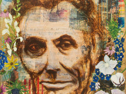 Lincoln Crossed My Mind by Andrea LaHue aka Random Act.  Americana Series, multimedia and oil on cradled wood panel.  Museum Quality, Contemporary Fine Art, oil Painting.