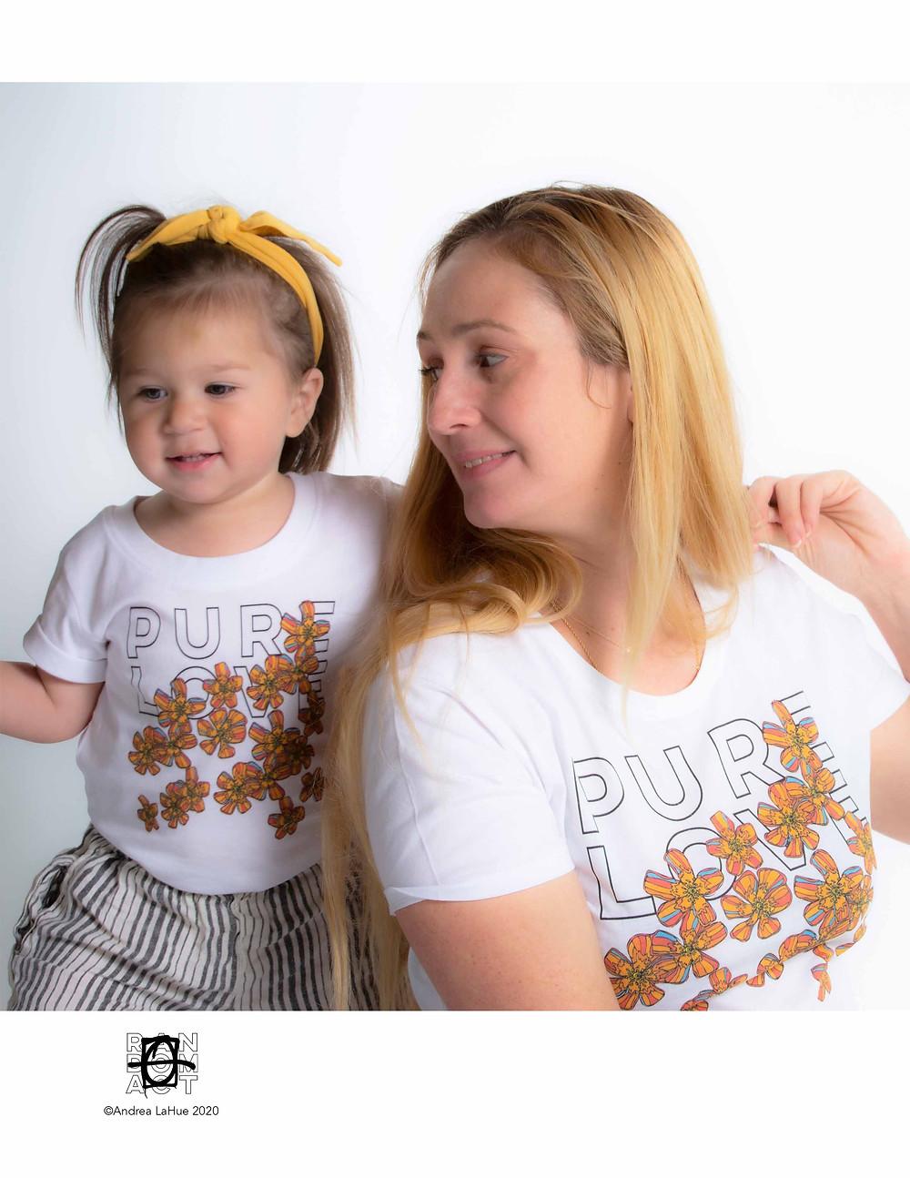 Pure Love Tangerine Flowers Organic Cotton T-shirt & Onesie