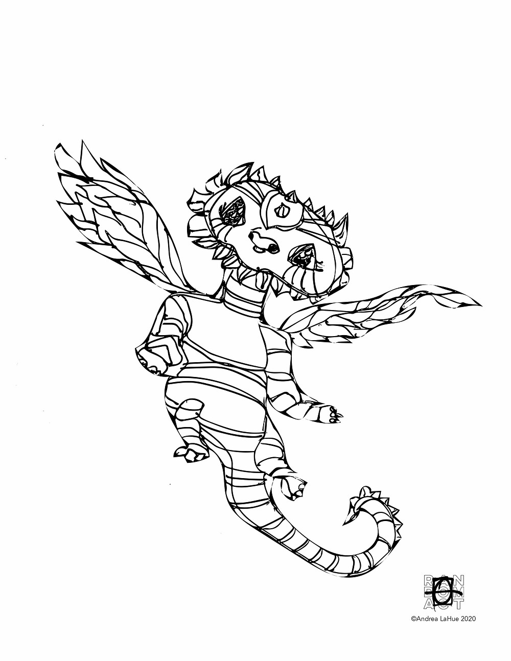 Dragon Fun Coloring pages 033120 by Andrea LaHue
