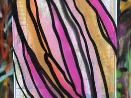 Washington State Pink Bud by Andrea LaHue aka Random Act, spray paint of a flower bud on a Washington State map.