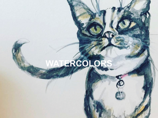 watercolor painting of my cat friend Prrrrl by Andrea LaHue aka Random Act