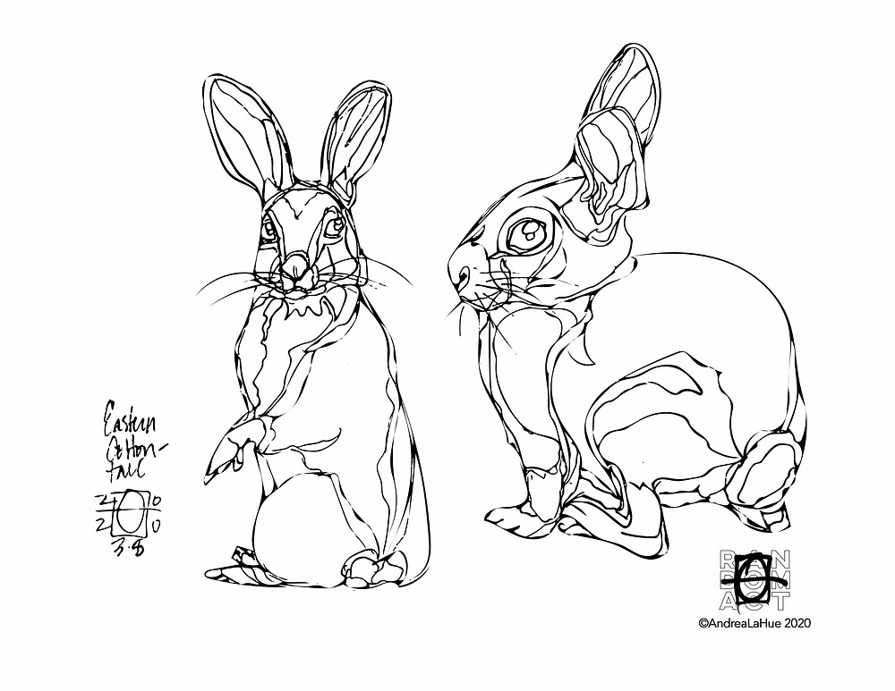 Cottontail coloring page by Andrea LaHue