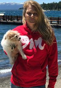 "Red ""OM"" hooded sweatshirt by AtelierLaHue.com Andrea LaHue aka Random Act on the shores of Lake"