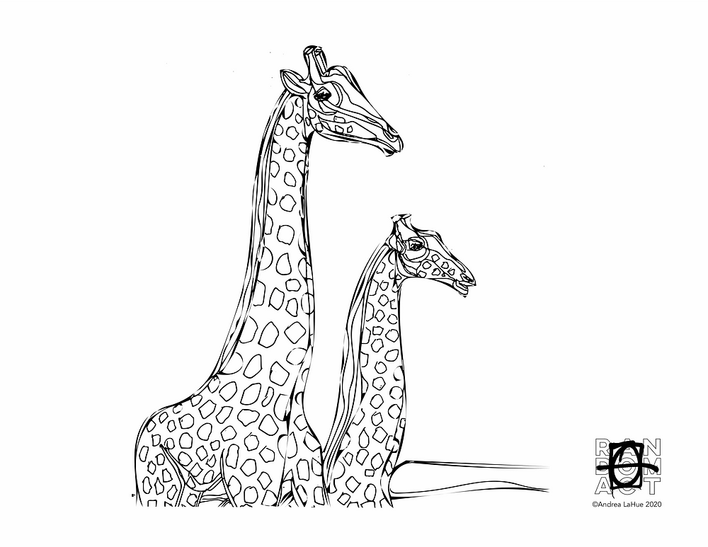 Giraffe Coloring Pages by Andrea LaHue