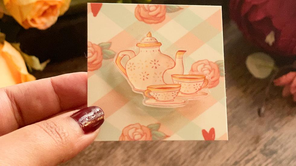 Acrylic Pin - Cottage Core Teapot