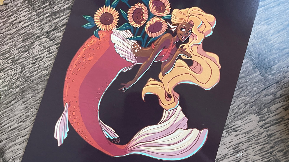 5x7 Print - Sunflower Mermaid