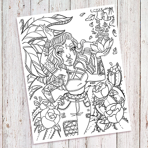 Coloring Page - Four Armed Lady