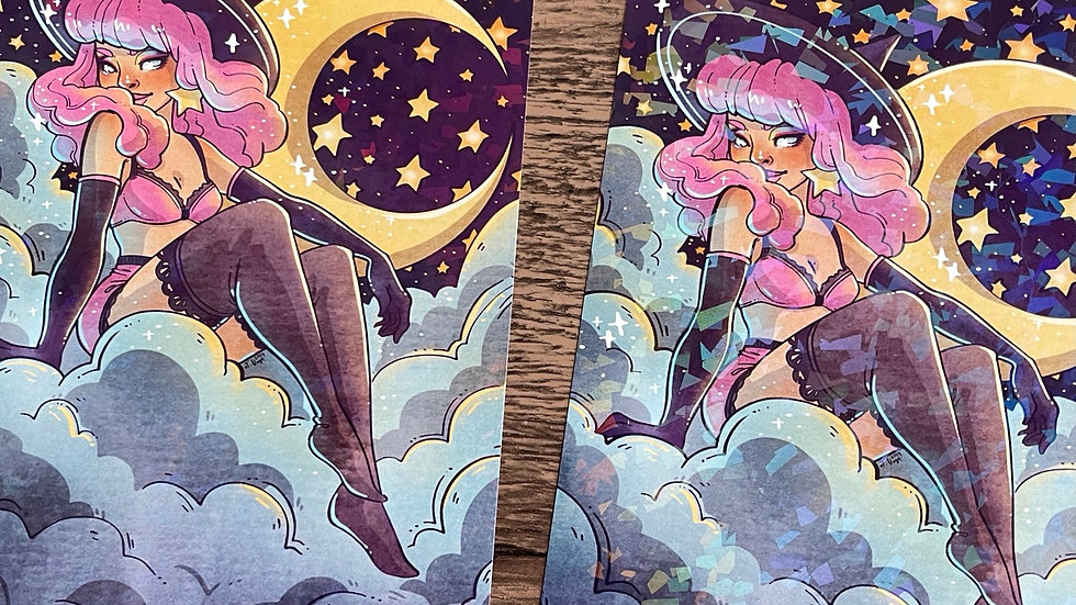 5x7 Holographic Print -  Pink Moon Witch
