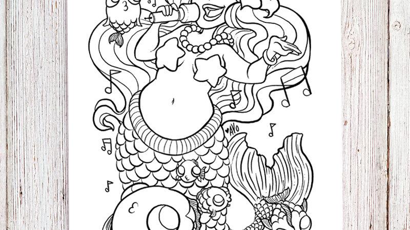 Coloring Page - Singing Mermaid