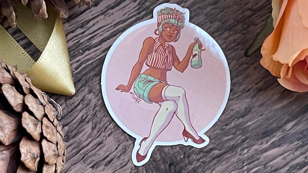 Vinyl Sticker - Drink Danni Pinup
