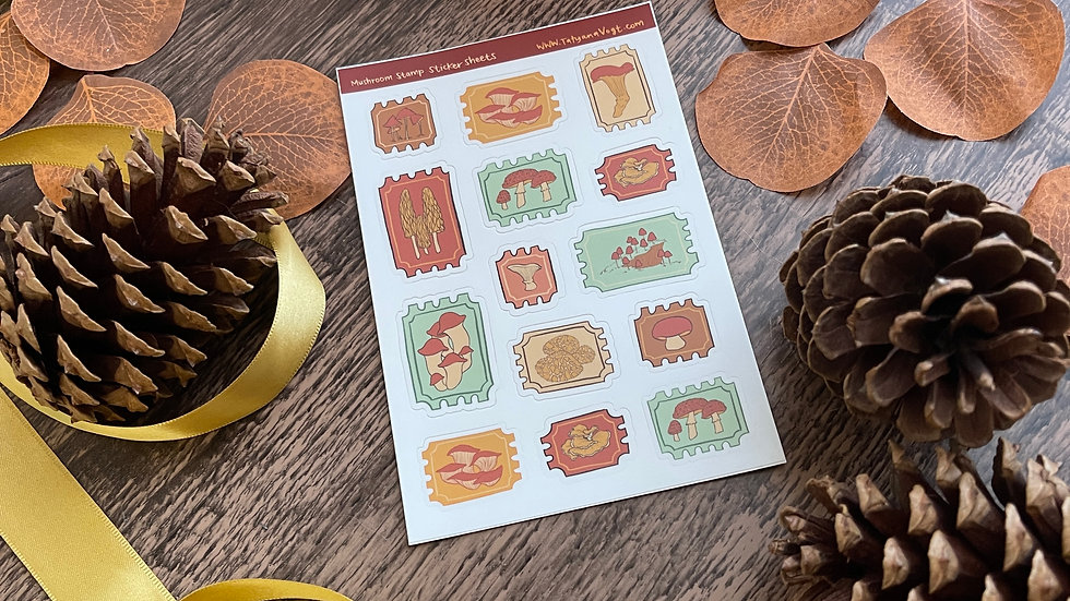Sticker Sheet - Mushroom Stamps