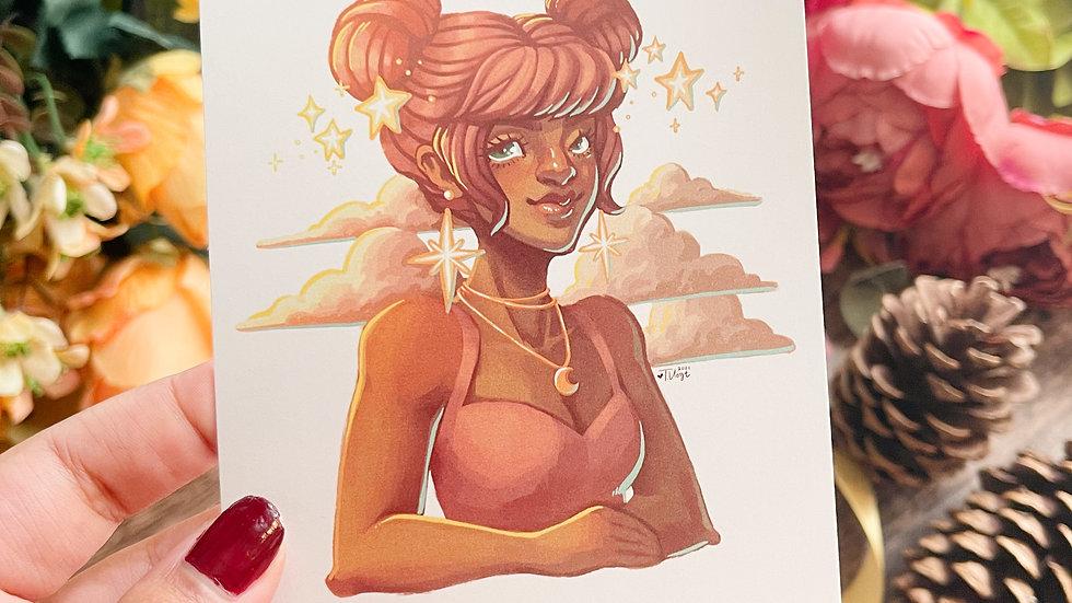 4x6 Postcard Print - Celestial Buns Portrait