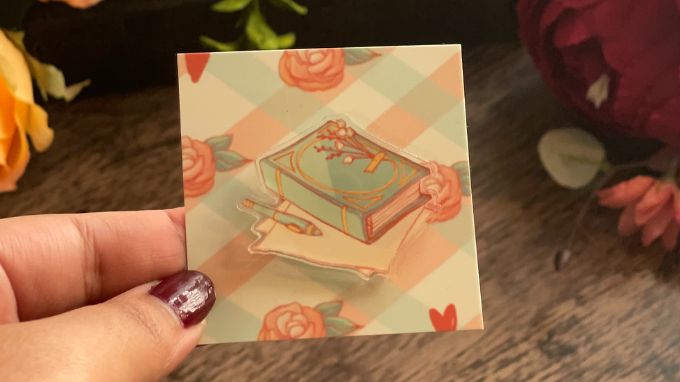 Acrylic Pin - Cottage Core Book