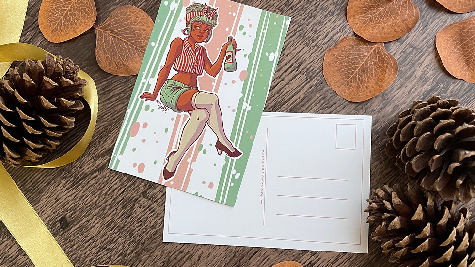 4x6 Postcard - Drink Danni Pinup