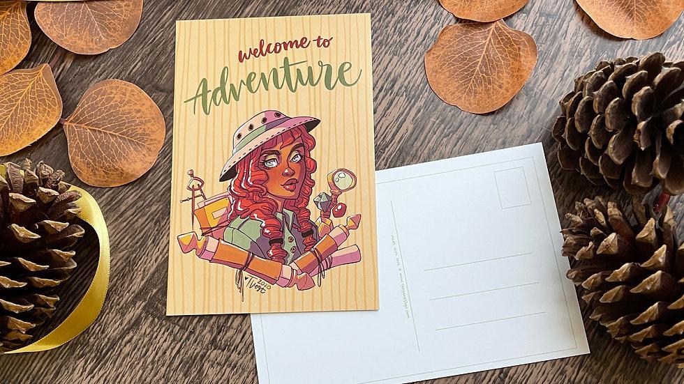 "4x6 Postcard - Archeology Portrait ""Welcome to Adventure"""