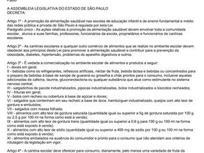 Proibições nas cantinas, refeitórios, pertencentes as Escolas Particulares de São Paulo.