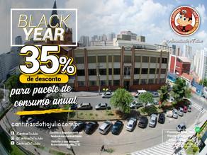 Promoção Black Year. 35% de desconto para pacote de consumo anual das Cantinas do Tio Julio.
