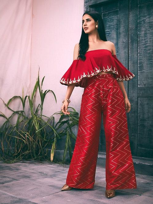 Red Off-Shoulder Crop-Top Pants