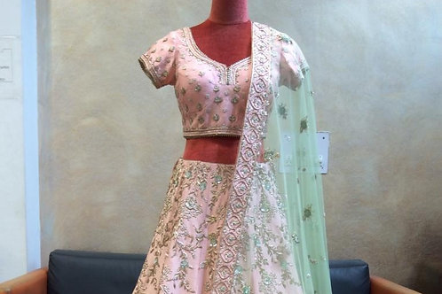 Pastel Pink Lehenga Choli In Raw Silk With Hand Embroidered Kasab  Flowers